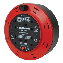 Faithfull Cable Reel 10Mt - 4 Gang - 10 Amp