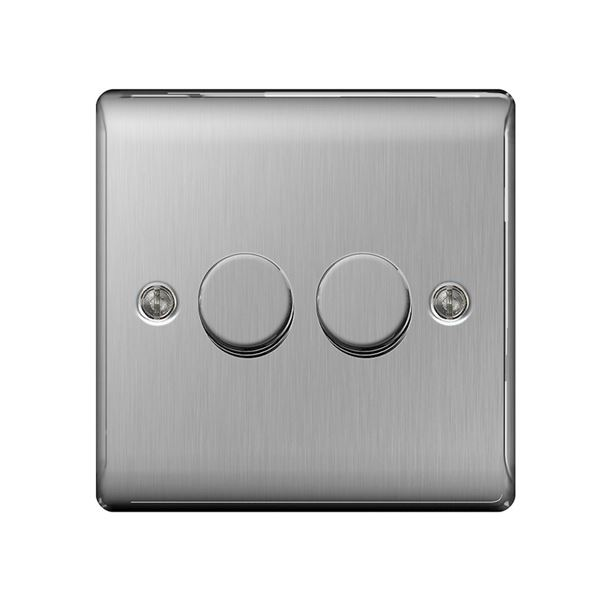 Nexus Stainless Steel Dimmer Switch - 2 Gang 2 Way