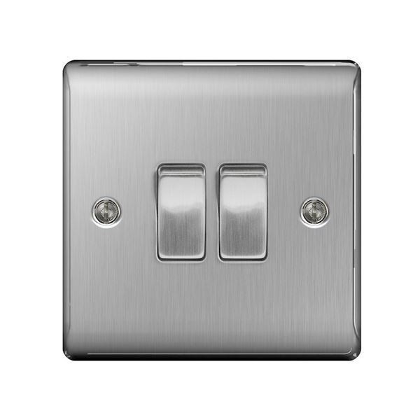 Nexus Stainless Steel Switch - 2 Gang 2 Way