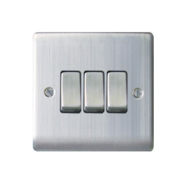 Nexus Stainless Steel Switch - 3 Gang 2 Way