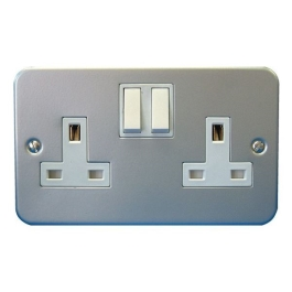 Metal Clad Switched Socket - 2 Gang