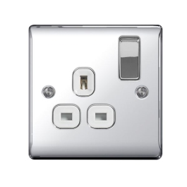Nexus Polished Chrome Switched Socket - 1 Gang