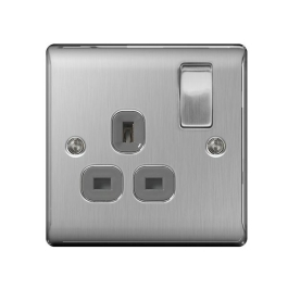 Nexus Stainless Steel Switched Socket - 1 Gang