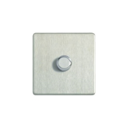 Flatplate Brushed Steel Dimmer Switch - 1 Gang 2 Way