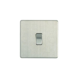 Flatplate Brushed Steel Switch - 1 Gang 2 Way