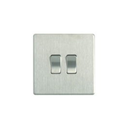 Flatplate Brushed Steel Switch - 2 Gang 2 Way