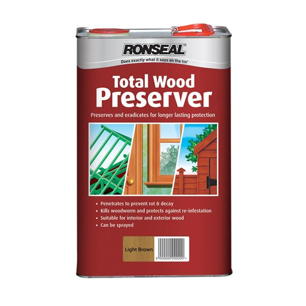 Ronseal Total Wood Preserver 5Lt - Dark Brown