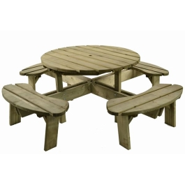 Garden Furniture - Wooden 8-Seater Table - Round