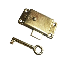 Cupboard Lock & Key 63mm - Brass Plated - (002679N)