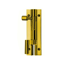 Necked Door Bolt 76mm - Polished Brass - (002655N)