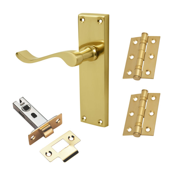Door Handle - Scroll Lever - Latch Pack - Brass - (045171N)