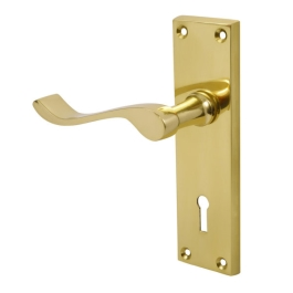 Door Handle - Scroll Lever - Lock - Brass - (045065N)
