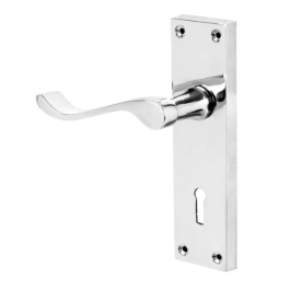 Door Handle - Scroll Lever - Lock - Chrome - (045089N)