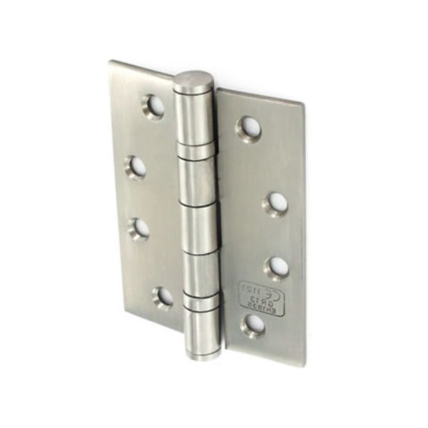 Steel Butt Hinges 100mm - Ball Bearing - Polished Chrome - (Pack of 3)