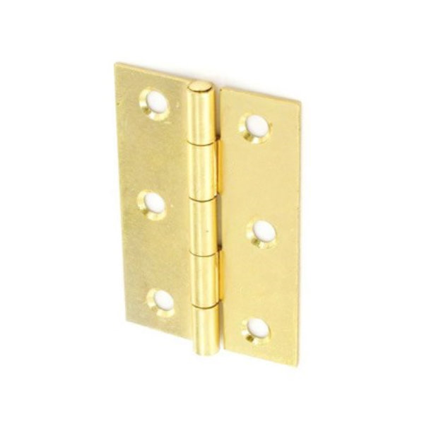 Steel Butt Hinges 75mm - Brass Plated - Loose Pin - (Pack of 2) - (002389N)