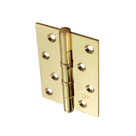 Steel Butt Hinges 100mm - Ball Bearing - Brass Plated - (Pack of 3)