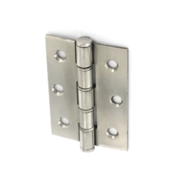 Steel Butt Hinges 75mm - Button Tipped - Polished Chrome - (Pack of 3)