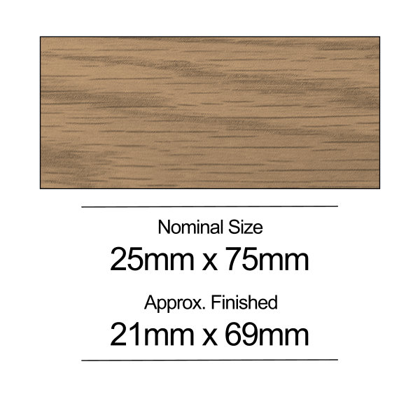 American Oak PSE - 25mm x 75mm