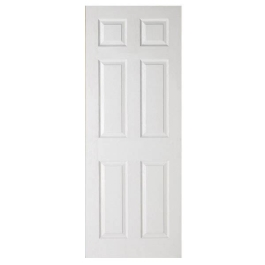 "Colonial 6-Panel Interior Door - White Grained - 78"" x 28"""
