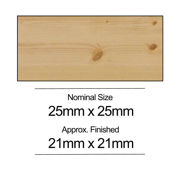 Softwood PSE - 25mm x 25mm - Per Metre