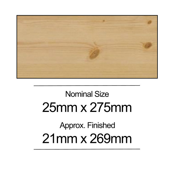 Softwood PSE - 25mm x 275mm - Per Metre