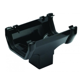 Rainwater Square Gutter Running Outlet - Black