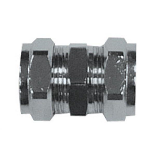 Chrome Compression - Straight Coupler 15mm - (9CPCC15)