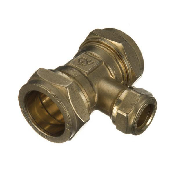 Brass Compression - Reducing Tee - 22mm x 15mm x 22mm - (9CT212)