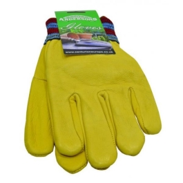 Gloves - Lined Hide - Large - Yellow - (GL031)