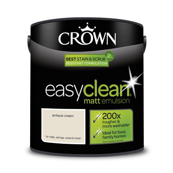 Crown EasyClean Matt Emulsion 2.5Lt - Creams - Antique Cream
