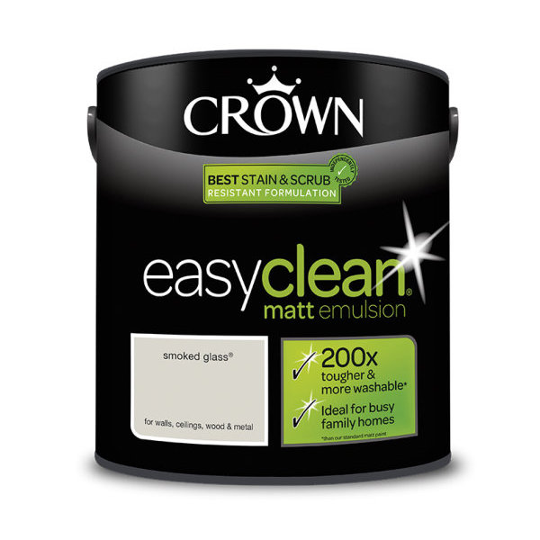 Crown EasyClean Matt Emulsion 2.5Lt - Greys - Smoked Glass