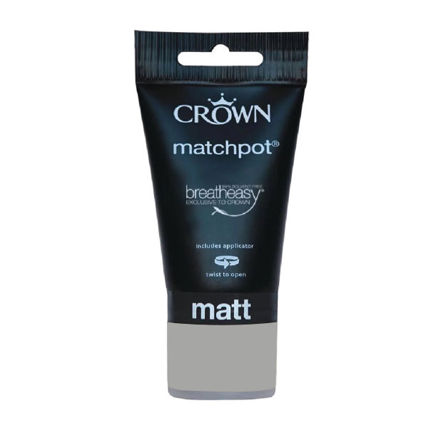 Crown Matt Emulsion 40ml - Matchpot - Greys - Granite Dust
