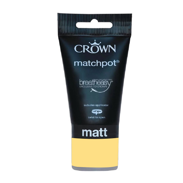 Crown Matt Emulsion 40ml - Matchpot - Yellows - Happy Daze