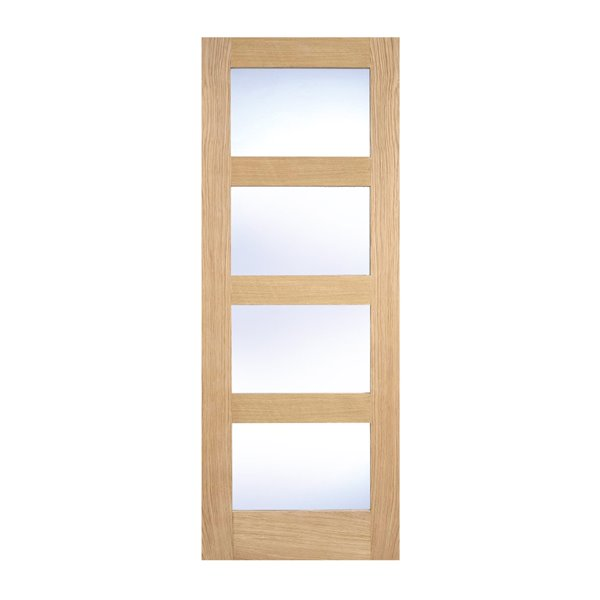 Oak Shaker 4L Door - Clear Glazed - All Sizes