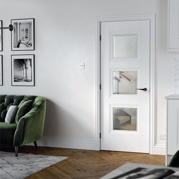 White Amsterdam 3L Door - Glazed - All Sizes