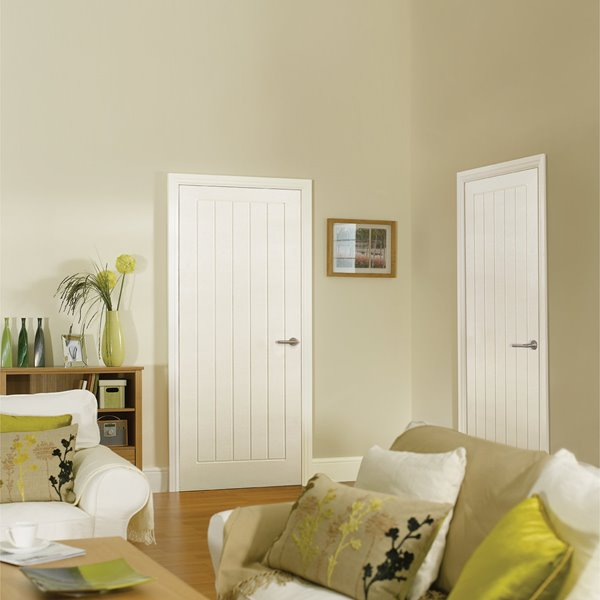 White Vertical 5-Panel Door - Textured - All Sizes