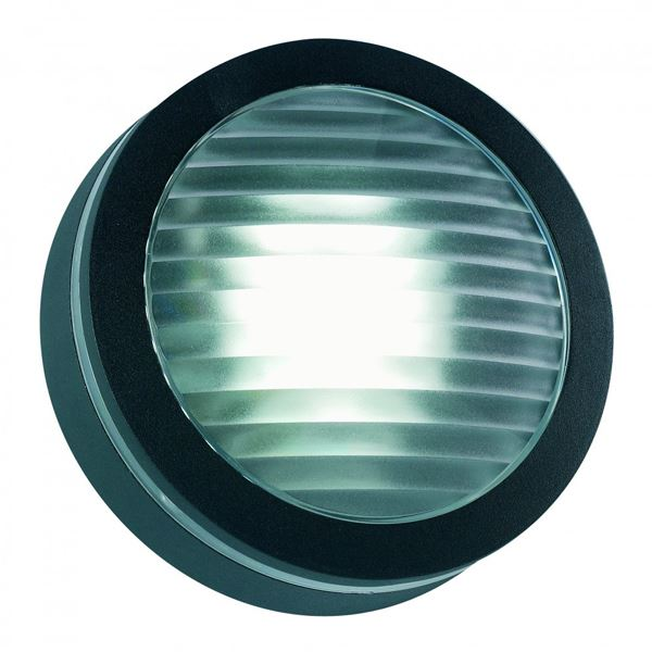 Outdoor Wall Light Fitting - Flush Round - Black