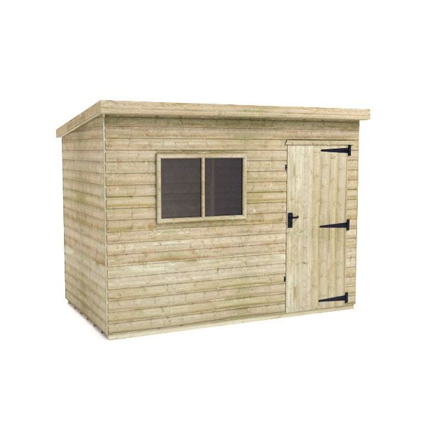 Tiger Elite Pent Shed - Pressure Treated - 10Ft Length x 8Ft Width