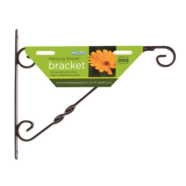 "Green Jem Hanging Basket Bracket 14"" - Black"