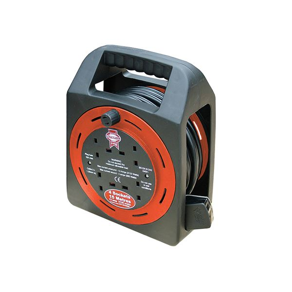 Cable Reel 15Mt - 4 Gang 13 Amp