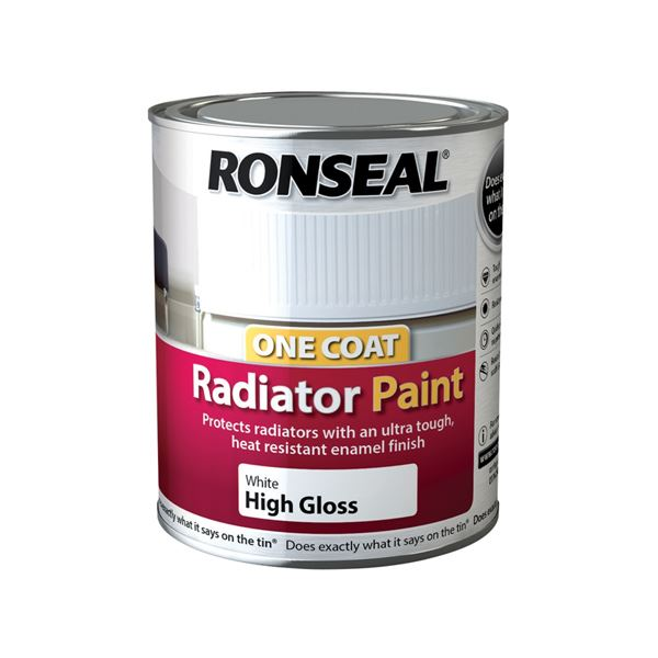 Ronseal One Coat - Radiator Paint 750ml - White Satin