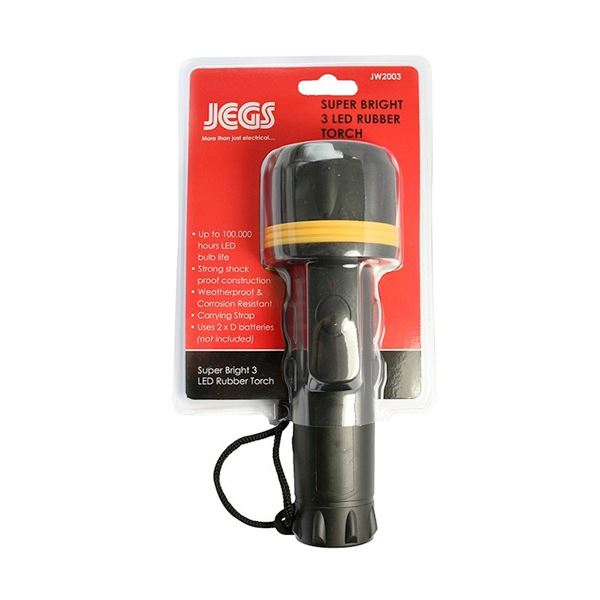 Jegs Super Bright Torch - 3 LED - Rubber