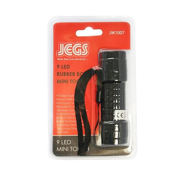 Jegs Super Bright Mini Torch - 9 LED - Rubber