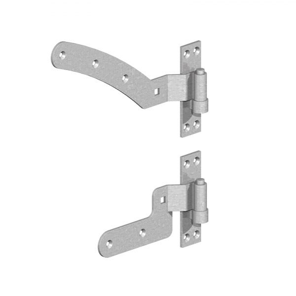 Curved Rail Hinge Kits 300mm - Galvanised - Left Hand