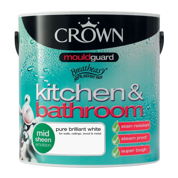 Crown Bath & Kitchen Paint 2.5Lt - Mid Sheen - White
