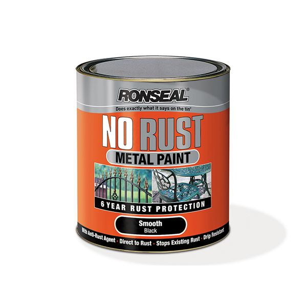 Ronseal No Rust Metal Paint 750ml - Smooth - Black