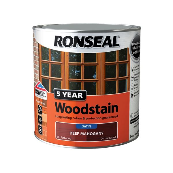 Ronseal 5 Year Woodstain - Deep Mahogany 750ml