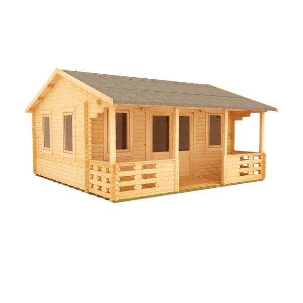 The Sigma (inc. Veranda) - 44mm Log Cabin - 20Ft Length x 14Ft Width