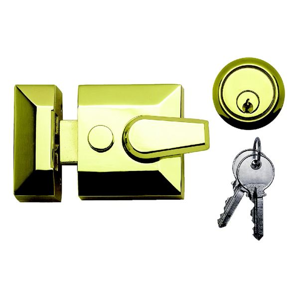 Sterling Deadlocking Nightlatch - Narrow - Brass
