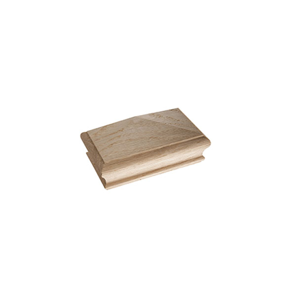 Oak Flat Square Newel Cap - Half